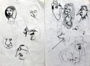 Gene Baer face doodles