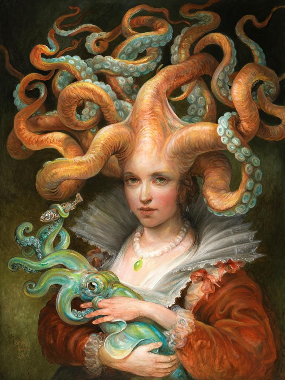 "Contessa with Squid, oil on panel, 18 x 24"""