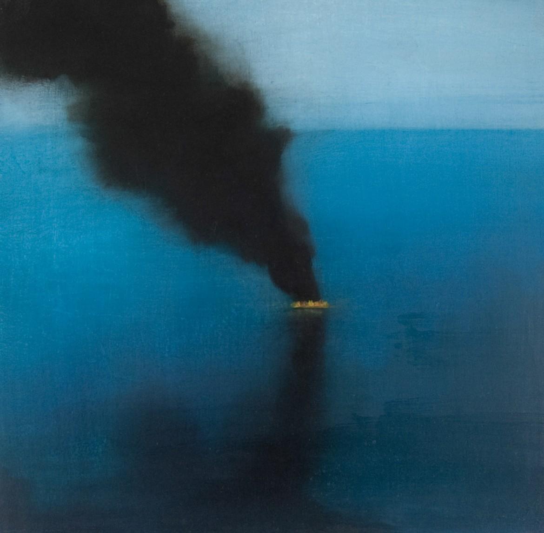 "Susan Metzger, Not Stopping, oil on birch, 12 x 12"""