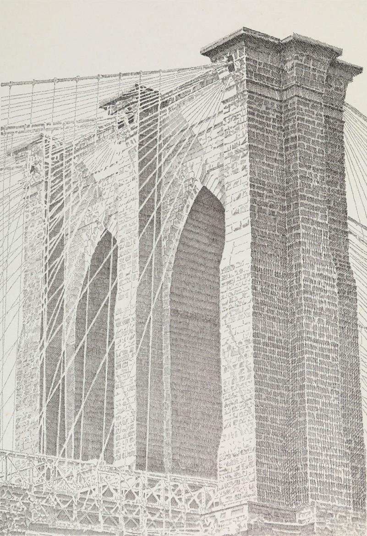 East Tower, Brooklyn Bridge, pen and ink