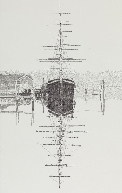 Square Rig Schooner, pen and ink